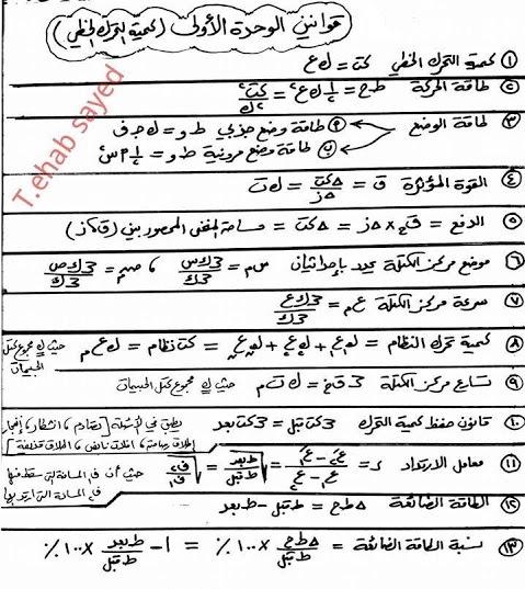 ملخص قوانين الوحدة الأولى من كتاب فيزياء الثانوية العامة المنهاج الفلسطيني 1476363504561.jpg