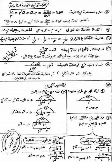 ملخص قوانين الفيزياء الوحدة الثانية توجيهي المنهاج الفلسطيني 147775720971.jpg
