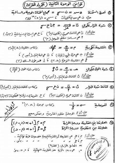 ملخص قوانين الفيزياء الوحدة الثانية توجيهي المنهاج الفلسطيني 1477757209722.jpg